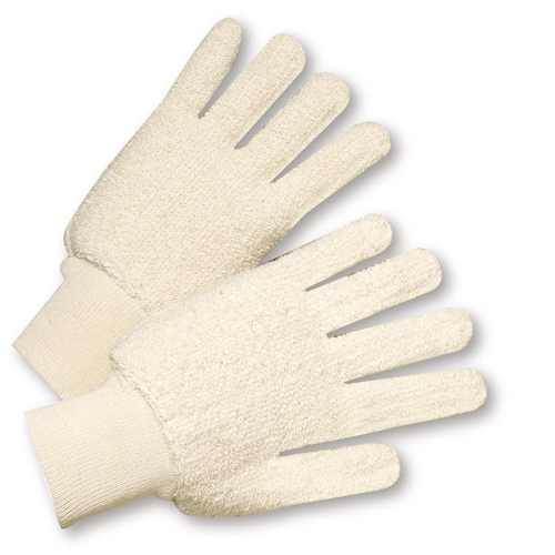 West Chester T24KW Cotton Double-Palm Loop out Terry Gloves