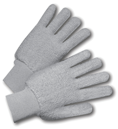 West Chester T24KWG Cotton Double-Palm Terry Gloves Gray