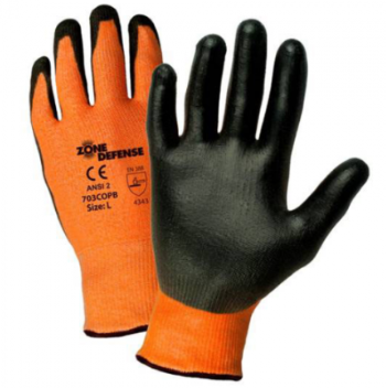 West Chester Zone Defense Black Polyurethane Palm Coated Orange HPPE Gloves